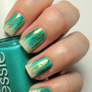Teal waterfall nail art by Alison Fisher