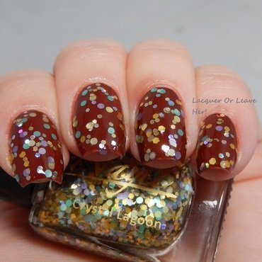 China Glaze brownstone and Nayll Crystal Lagoon Swatch by Lacquer or Leave Her! Michelle Chouinard