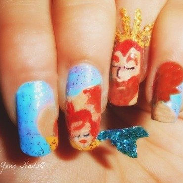 Triton with his baby Ariel nail art by Vidula Kulkarni