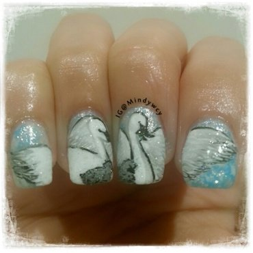 swan at the lake nail art by mindywong
