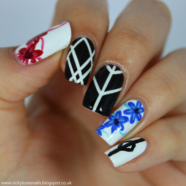Florals and Striping Tape nail art by Vicky Standage