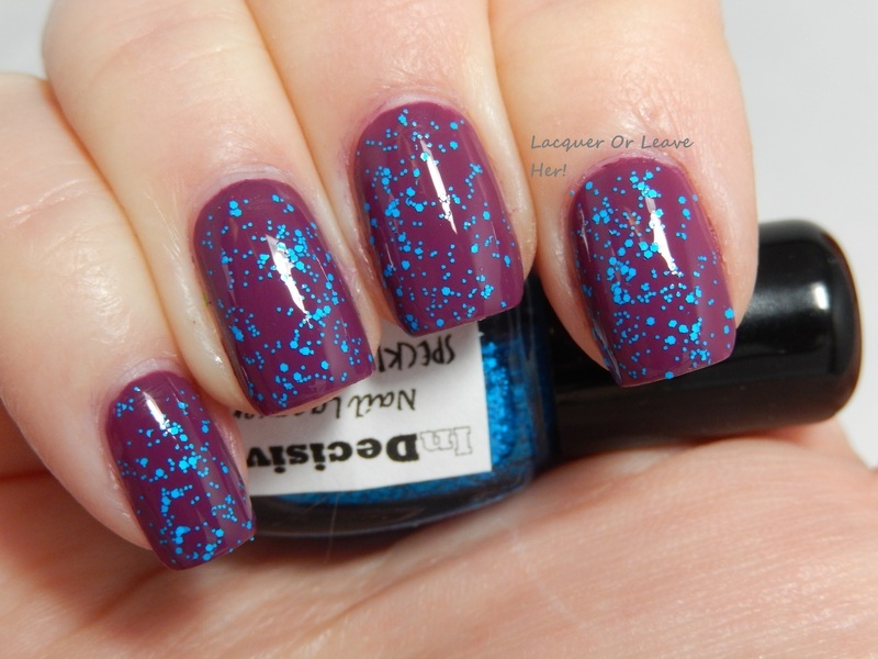 Zoya Demi and InDecisive Nail Lacquer Speckled Blue Neon Swatch by Lacquer or Leave Her! Michelle Chouinard