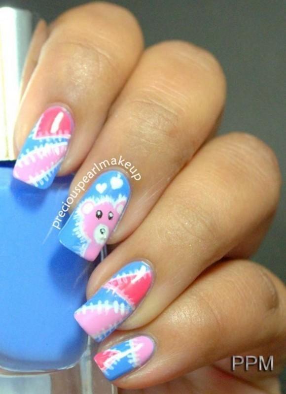 Teddy Bear Nails nail art by Pearl P.