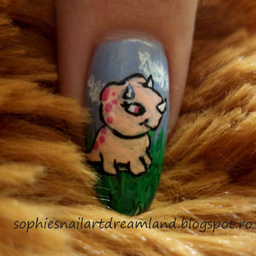 Dino 2 nail art by Sophie