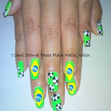 Brazil World Cup Nails  nail art by Arnolin Modokh